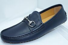 Gucci Men's Shoes Blue Loafers Miro Soft Size G 9.5 Drivers Leather Dress NIB