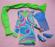 Barbie 1991 TOTALLY HAIR Multi Mod Mini Dress Outfit Blue Shoes SCARF WRAP Tie