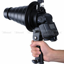 Handheld Flash Bracket Adapter Holder + Bowens Mount Snoot for Camera Tripod