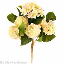 Artificial silk cream Hydrangea bush with pink tips 42cm for wedding flowers
