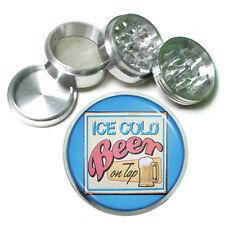 """Vintage Poster D249 Aluminum Herb Grinder 2.5"""" 63mm 4 Piece Ice Cold Beer on Tap"""