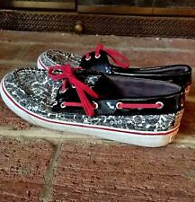 SPERRY TOP SIDER Snake Skin RED & BLACK Loafers Flats Boat Shoes WOMENS Sz 8