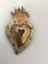 Thomas Mann Collage Flaming Heart Milagro Pin in Copper, Silver, and Brass
