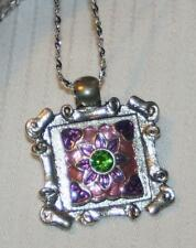 Lovely Scroll Rimmed Green Rhinestone Violet Purple Starburst Silvertn Necklace