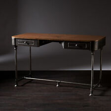 CCD25909 METAL / WOOD INDUSTRIAL GRAY STYLE DESK WITH 2 DRAWERS
