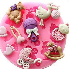Baby Shower Silicone Fondant Cake Mold Chocolate Baking Sugarcraft Decor Mould Q