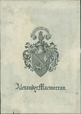 Alexander Macmorran. Sword hands  Armorial Bookplate    JD.1248