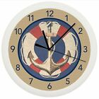 NAUTICAL ANCHOR WALL CLOCK GIFT DECOR PERSONALIZED SHIP SEA BOAT RED BLUE ROPE