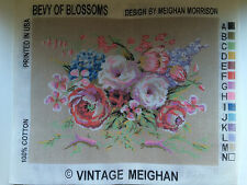 2 Vintage Needlepoint Tapestry Embroidery Canvases 14x18 Bevy of Blossoms Peony