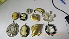 Vintage Costume Jewelry Plastic Glass CAMEO Woman Necklace  Brooch TRIFARI