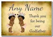 Vintage Baby Twin Black Girls Godfather Thank You  Personalised Magnet