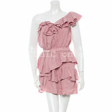 ISABEL MARANT ETOILE 'irene dress' one shoulder light pink ruffle linen blend 0