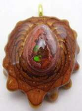 "Third Eye Pinecones - 1.5"" Mexican Fire Opal Pendant - Handcrafted from Knobcone"