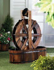Spinning Wood Outdoor Water Mill Fountains Waterfall Garden Pumps Features Pond