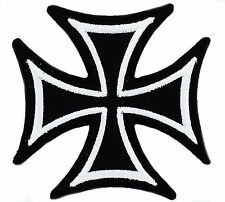 PATCH PATCHES MALTESE CROSS BIKER JACKET GOTHIC EMBROIDERED MOTORCYCLE BLACK