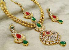Indian Ethnic Goldtone 3 PC Necklace Set Bollywood Designer Wedding Jewelry 4850