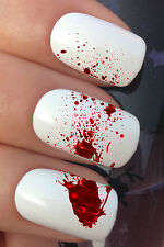 HALLOWEEN NAIL ART SET #663 x12 BLOOD SPLATTER WATER TRANSFER DECALS STICKERS