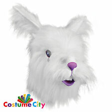 Adults Overhead White Furry Rabbit Mask Easter Fancy Dress Costume Accessory