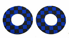 Flite old school BMX bicycle grip foam donuts - CHECKERBOARD BLUE and BLACK