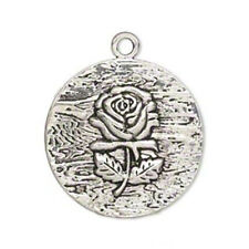 Antiqued Silver Victorian Rose Flower 38mm Round Pewter Pendant