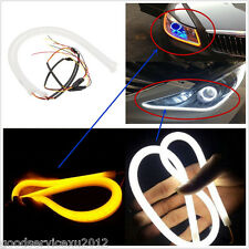 2 X 60cm Dual Color Car Tube Switchback LED Strips DRL Eyelid Turn Signal Lamps