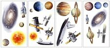 SPACE TRAVEL Wall Decals Planets Sun Moon Room Decor Stickers Outer Stars Ship