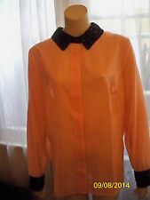 KALEIDOSCOPE BLACK/PEACH OR PEACH/BLACK SEQUIN COLLAR BLOUSE 18,10,22 CLEARANCE