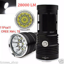 28000LM 11 x CREE XM-L T6 LED Hunting Glanz Taschenlampe Fackel 4x 18650 Lampe