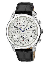 Seiko SPC131 Chronograph Perpetual Calendar Alarm Black Calf Leather Men's Watch