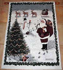 Christmas Traditions ~ Santa Claus/Snowman/Reindeer/Tree Tapestry Wall Hanging