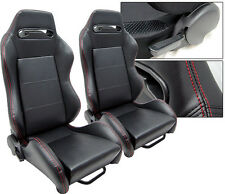 NEW 1 PAIR BLACK + RED STITCHING LEATHER ADJUSTABLE RACING SEATS ALL TOYOTA **
