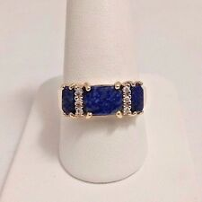 14 K YELLOW GOLD DIAMOND LAPIS LASULI RING. SIZE 9