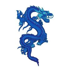 Chinese Azure Dragon Patch Blue Water & Ice Legendary Creature Iron-On Applique