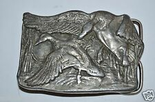 RARE 1977 Duck Hunting Bergamot Brass Works Heavy Metal Belt Buckle Waterfowl