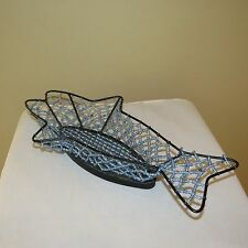 Fish Serving Basket Blue Beaded Glass Beads & Cast Iron Beautiful Handcrafted