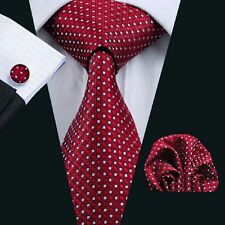 Red 100% Pure Silk Neck Tie Cuff-links & Handkerchief Set with Dots & Squares
