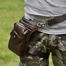 Men Waist Drop Leg Bag Genuine Leather Travel Hiking Motorcycle Fanny Pack Pouch