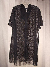 1X 18/20 Catherines Cover Up Beach Pool Black Lacy-Look Zips Hood SS Fringe $64
