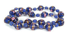 VINTAGE VENETIAN MURANO ITALIAN GLASS BLUE WEDDING CAKE BEADS NECKLACE 22.25""