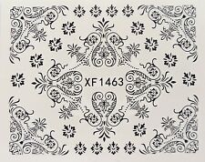 Nail Art Black Filigree Swirl Lace Leaf Flower Water Transfer Decal Sticker 1463