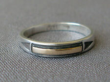 Signed M.M. Rogers EG Navajo Sterling Silver & 14K Gold Ring Size 8;C787