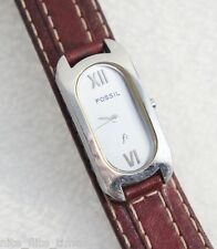 Fossil Women's F2 ES9550 Watch Silver Analog Dial Brown Leather Strap
