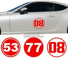 Race Rally Number # Circle Racing Sticker Decal door hood window 69 77 01 10