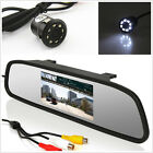 Car Reverse Parking 8LED Night Vision Camera+LCD Rearview Mirror Display Monitor