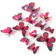12pcs Wall Stickers 3D Butterfly Decorations Decor Art Decal Home Gift Rose Red