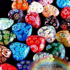 Cost-efficient 100pcs Heart Shaped Millefiori Glass Craft Beads Multi Color 8mm
