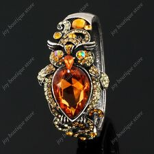 gold brown topaz rhinestone crystal owl bird fashion bracelet bangle jewelry