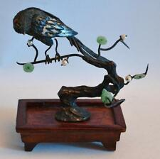 Vintage 1920s Chinese Silver and Enamel Bird in Tree with Jade and Pearl Leaves