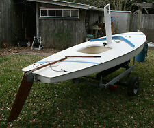 13' AMF Alcort Sunfish Sailboat with Galv. Trailer, Sail, Keel & Mahogany Tiller