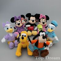 "Micky Mickey Minni Mouse Donald Duck Goofy Pluto ~ 10"" Soft Plush Toy NEW"